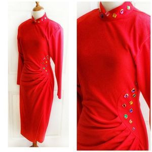 Red High Neck Long Sleeve Wiggle Dress Pencil